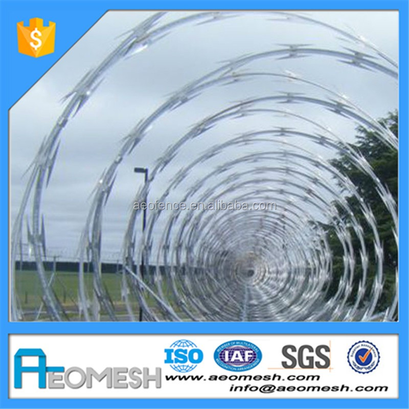 Airport installation concertina razor barbed wire fence