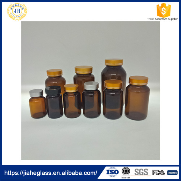 empty amber glass capsule/pills/tablets bottle for sale,pharmaceutical glass medicine container