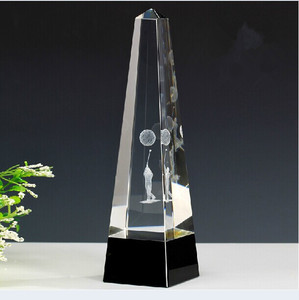 cheap 3d laser engraved new fashion products on the market optical crystal trophies for golf