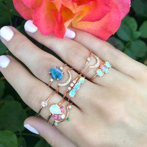 Bijoux ladies Rings White opal simple fashion design blue opal 18k gold plated 925 Sterling Silver Women's finger Rings