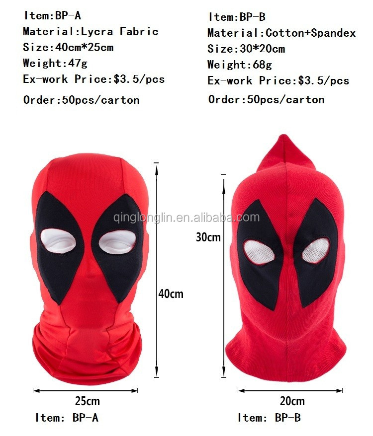 Suave Lycra Spandex Deadpool Máscara Superhéroe Balaclava Deadpool ...