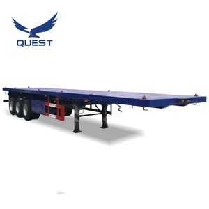 QUEST 40ft Flat Bed Trailer 3 Axle Shipping Container Transport Flatbed Semi Trailer for sale