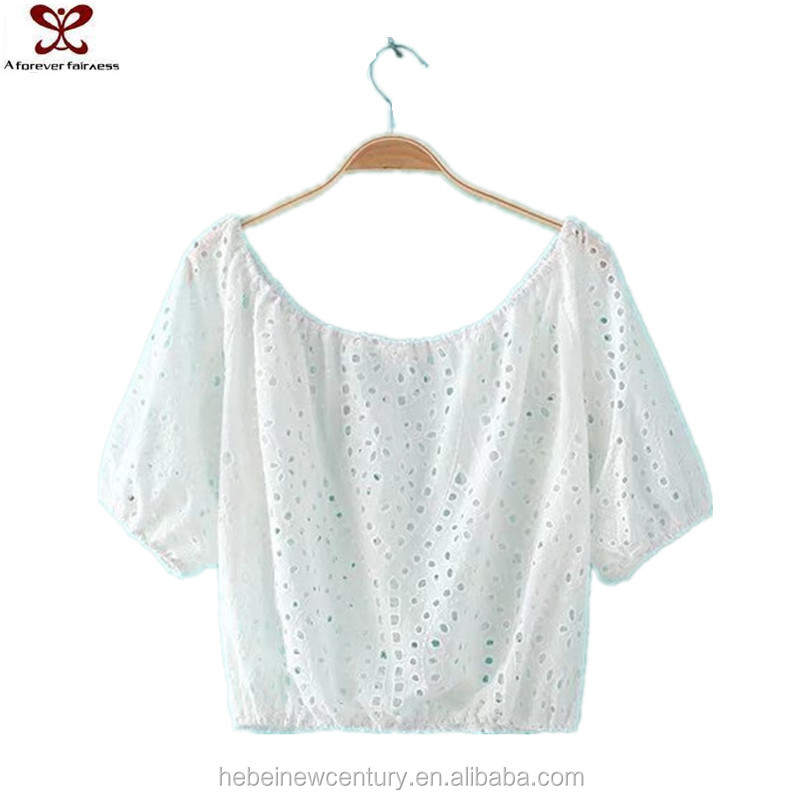 2016 Summer Hot Sale Plain Boat Neck Hollowed White See Through Blouse For Women
