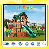 Outdoor children wooden playground slide equipment for sale LT-2075D