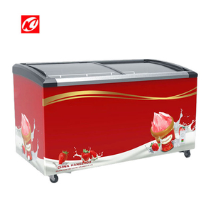 Curved glass door chest freezer for ice cream gelato