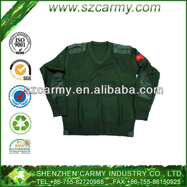 Men's Latest Military Stylish V-shape Collar 80% Acrylic 20% Wool Oliver Green Jumper