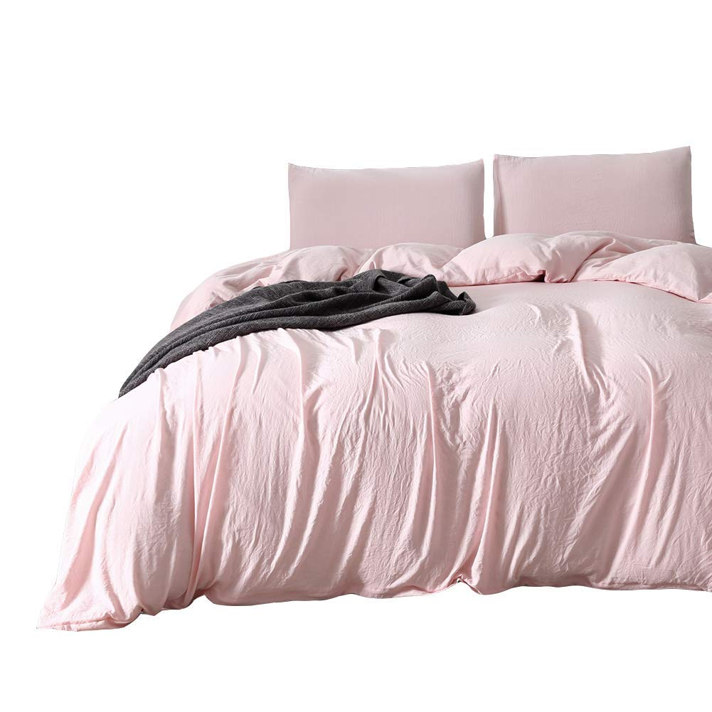 """Pink Bedding Light Pink/Peach Duvet Cover Set 100% Microfiber Polyester Washed Cotton Quilt Cover Soft Pink Girls Bedding Sets Queen (90""""x90"""") One Peach Duvet Cover Two Pillowcases (Queen, Pink/Peach)"""