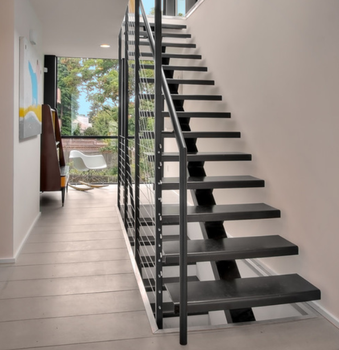Indoor Stainless Steel Railings Sloid Wood Treads Staircase Design