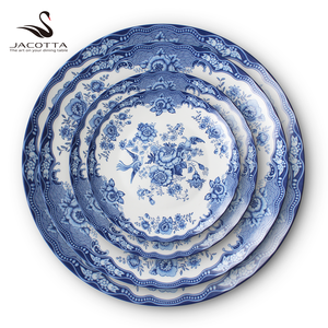 USA Canada Australia blue peony wedding ceramic bone china plates