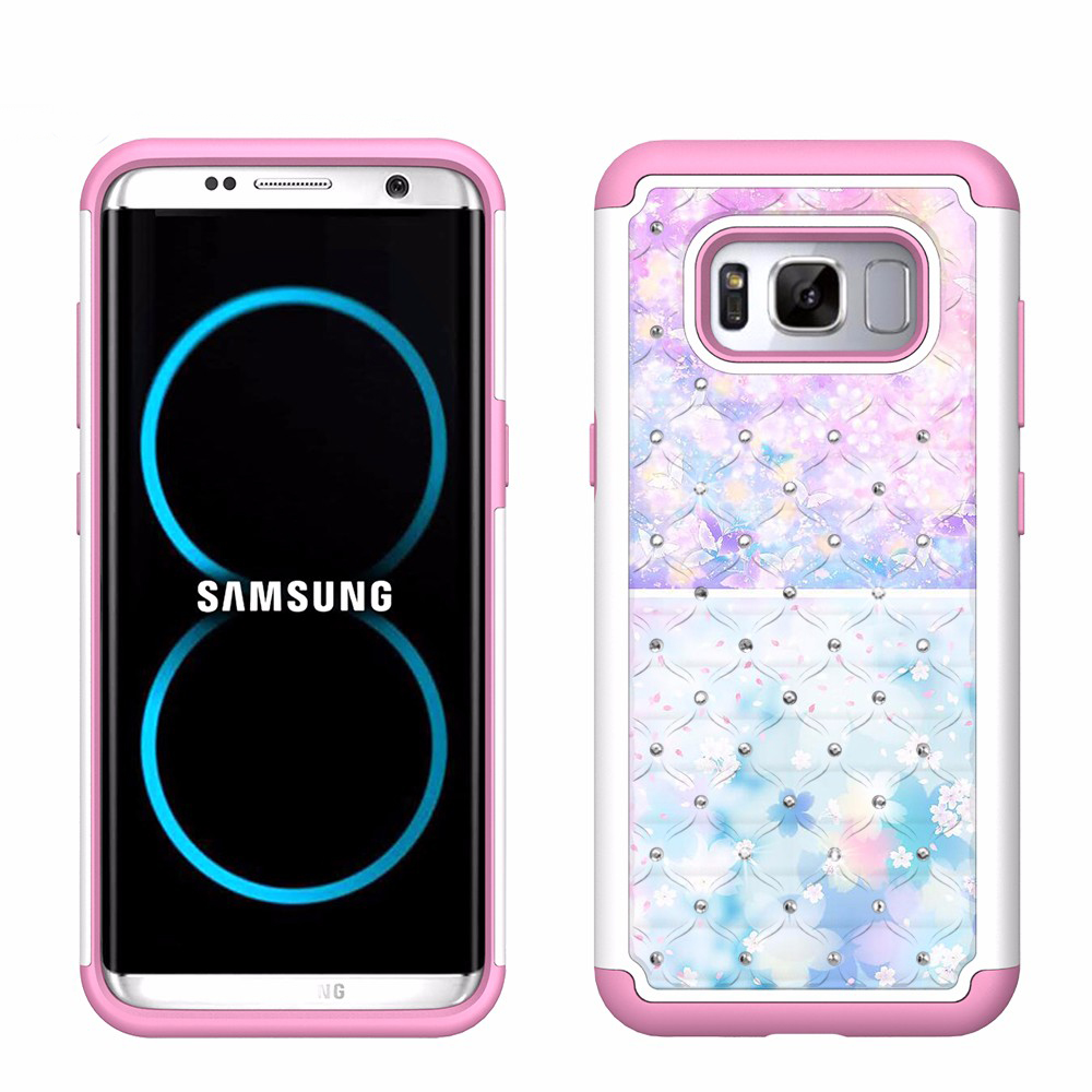 Combo Bling PC TPU flower For <strong>iPhone</strong> 4 4S <strong>4G</strong> 5C 5 5S SE 6S 6 7 plus For Samsung S3 S4 S5 S6 S7 S7 S8 Plus Note 3 4 5 phone case