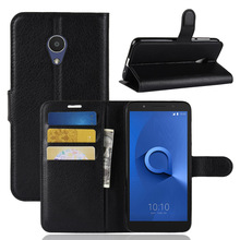 Vải PU Card Holder Wallet Lật Leather Case Cho Alcatel One <span class=keywords><strong>1X</strong></span>