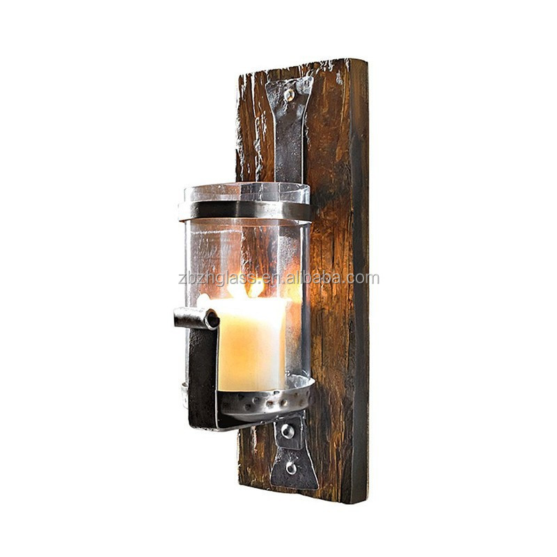 Rustic wooden wall candle holder