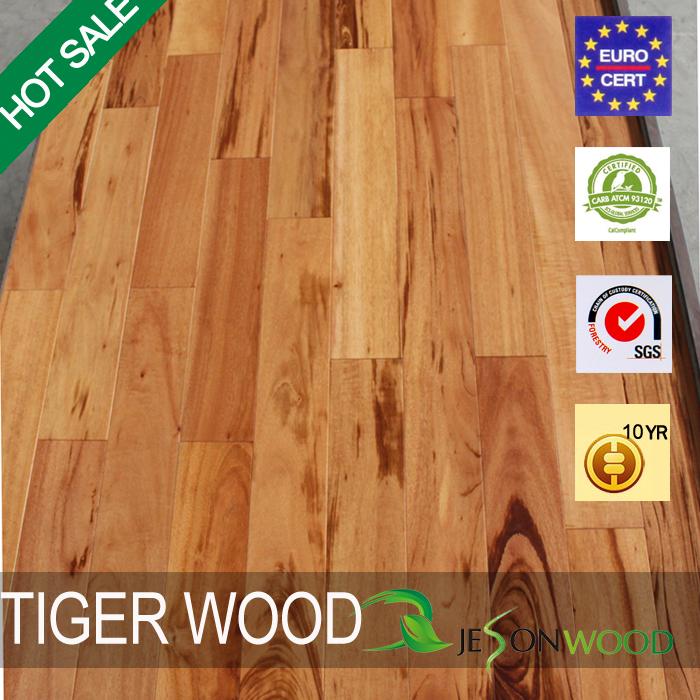 Solid Tiger Wood Hardwood Flooring Flatsmooth Surface Uv Finished