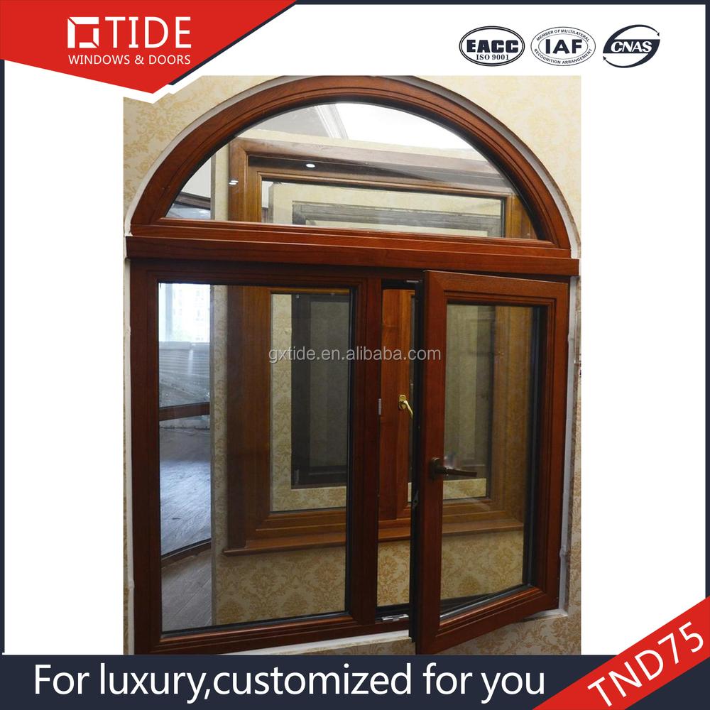 Recubrimiento en polvo de madera ventana de color con for Ventanas de aluminio con marco de madera