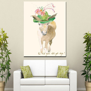 Animal Series Donkey With Hat Art Wall Decor Oil Painting Digital Print Custom Canvas Painting