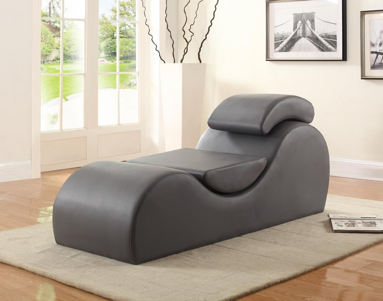 Container Furniture Direct Yoga Collection Modern Upholstered Faux Leather Stretch Relaxation Living Room Chaise, Grey