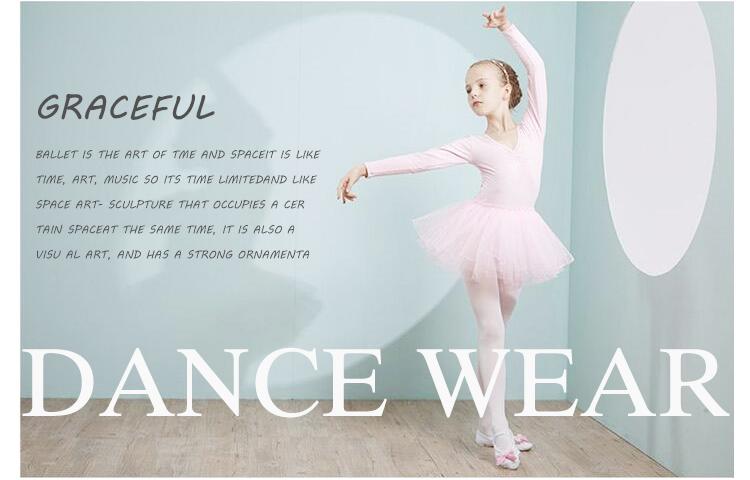 中国卸売ガールズ長袖バレエ衣装レオタードドレス子供のための