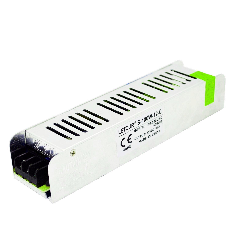 Letour New Size LED Power Supply 12V 100W AC 96V-240V Converter Adapter DC S-100W-12-C Power Supply for LED Lighting,LED Strip,CCTV