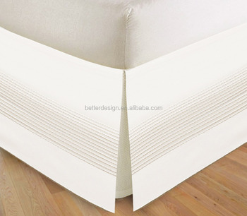 1PC Poly Cotton white hotel pintuck bed skirt