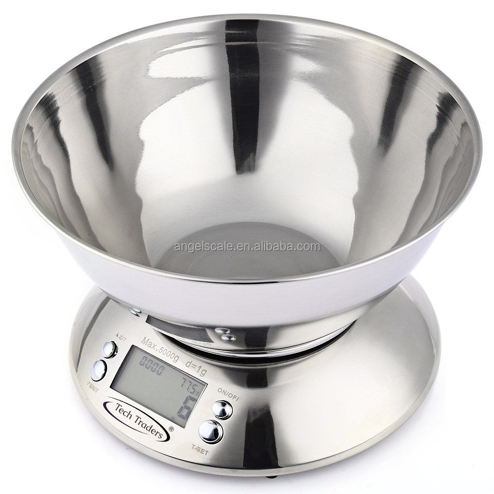 5kg weighing kitchen scale best digital kitchen scale stainless steel with bowl