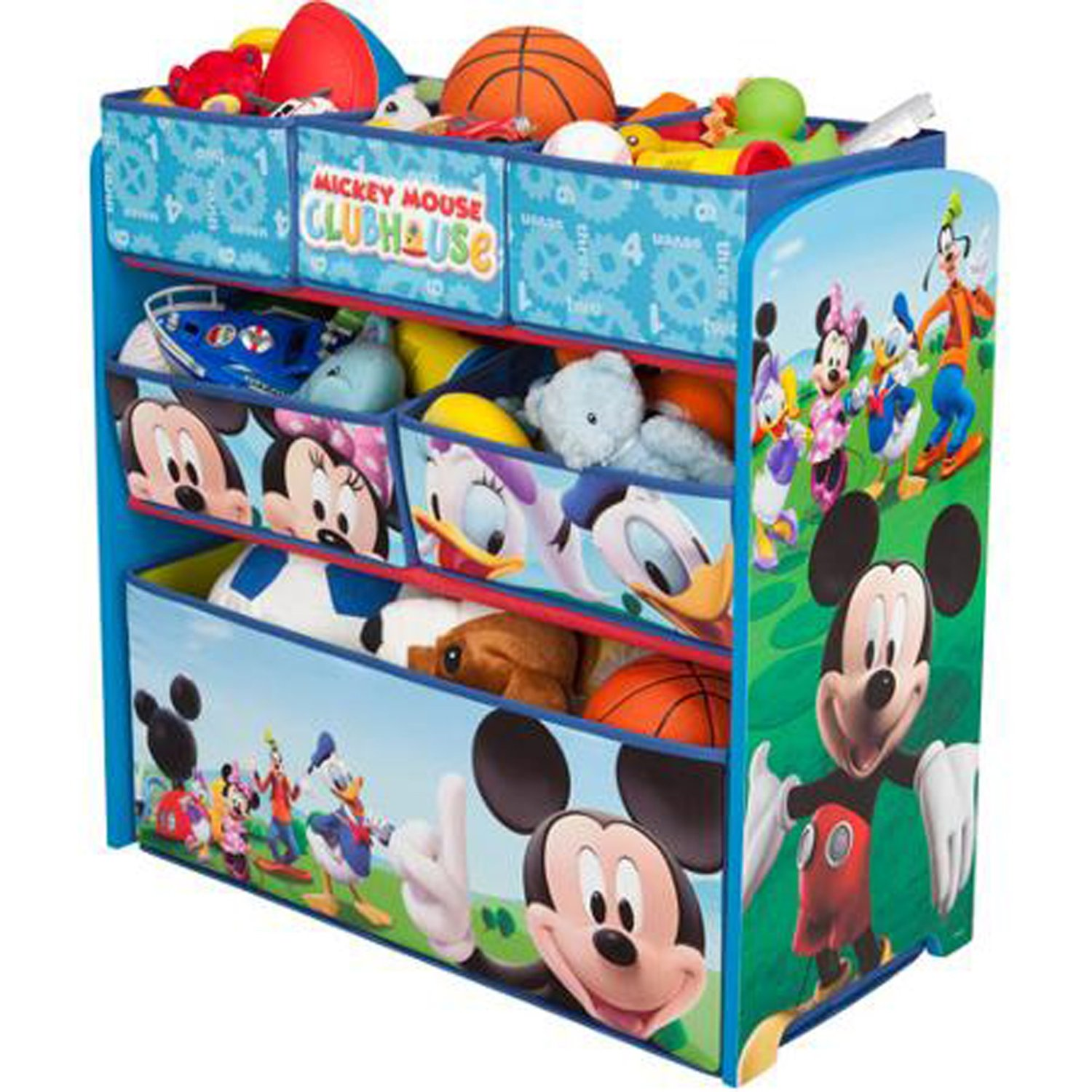 Disney Multi Bin Toy Organizer, Mickey Mouse Well-constructed Wood Design Sturdy Safe Storage Space Plenty of Room Clean-up Time Constructive Disney's Classic Cartoon Characters