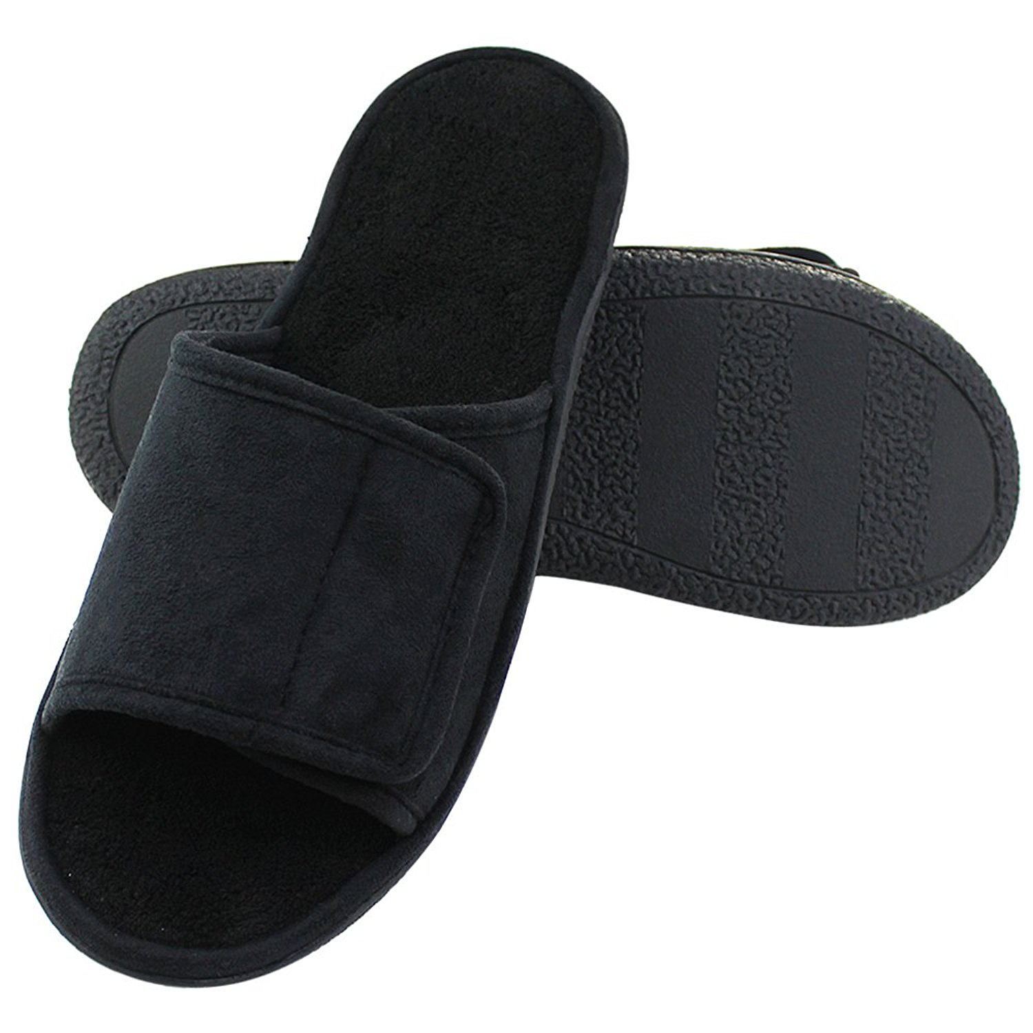 fbf207cc4c72e2 Get Quotations · Magtoe Men Velcro Indoor Slippers Faux Suede Adjustable Open  Toe Slipper