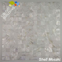 no joint river shell square mosaic tile