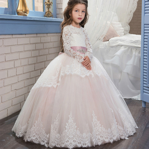 Boutique Wholesale Girls Ball Gown Princess Dress Wedding Party Baby Girl Frocks Long Sleeve Lace Tulle Bridesmaid Dresses