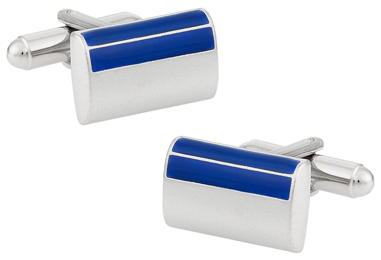 Cuff-Daddy Satin Blue Rectangular Enamel Cufflinks in Silver with Presentation Box