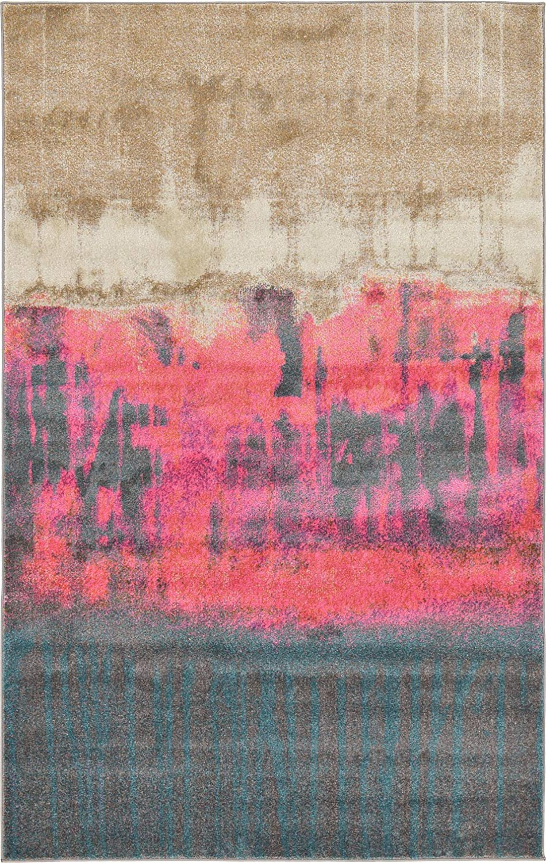 A2Z Rug 5' x 8'-Feet Devon Collection Contemporary Area Rug, Pink