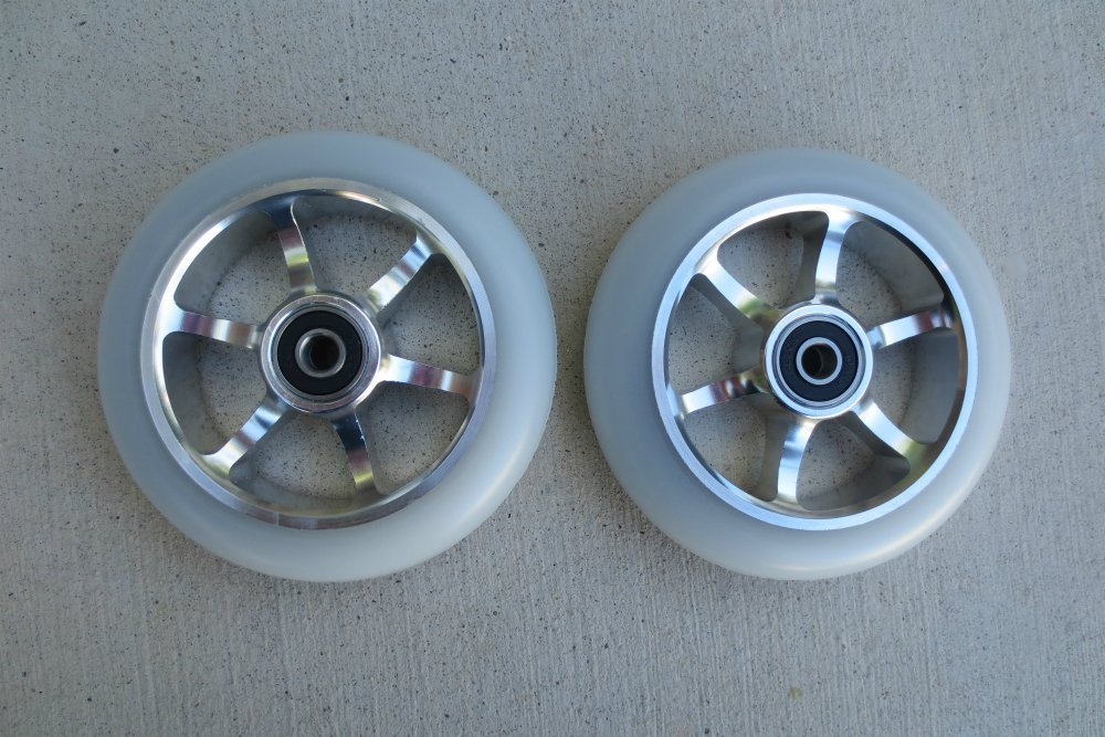 "DIS 110mm ""Smoked"" 6 Spoke Metal Core Scooter Wheels with ABEC-9 Bearings (pair – 2 wheels)"