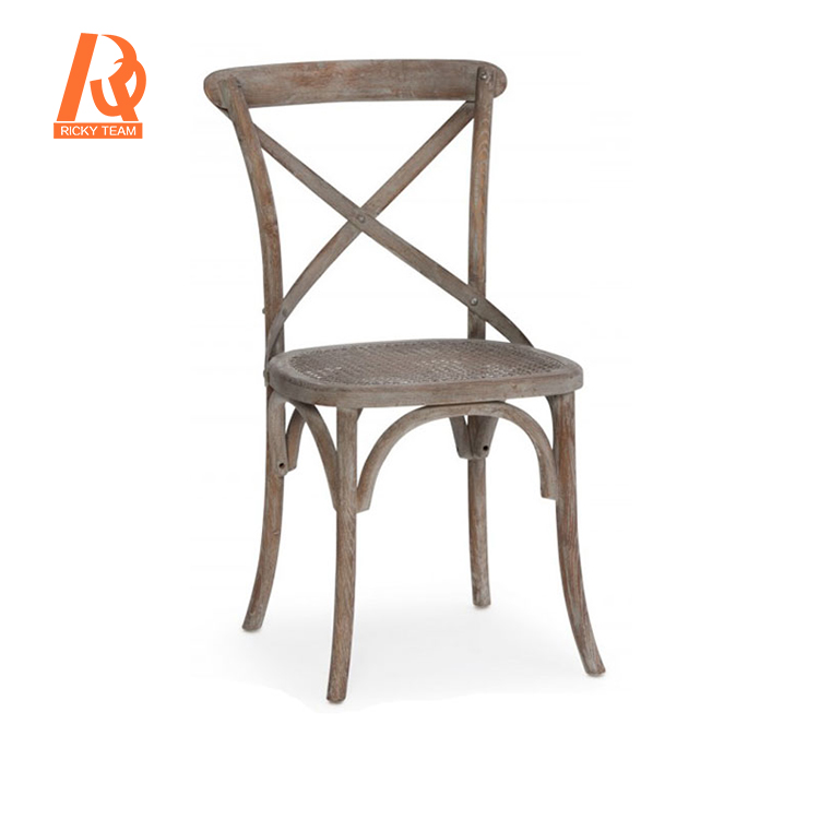 Cross back rattan seat classic wood dining chair