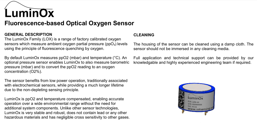 Fluorescence-based Optical Oxygen Sensor O2 for Medical Incubation Agriculture 0-25% LOX-O2