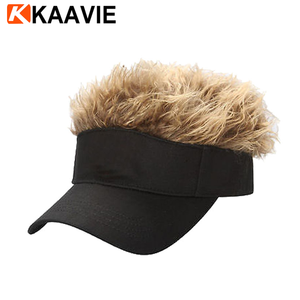 9fe24508a19 Custom fashion cotton sun visor fake hair hats and caps with wig for mens