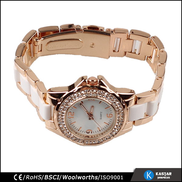 stones bezel rose gold lady quartz watch stainless steel back water resistant
