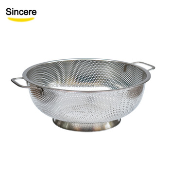 5-Quart Colander with Handle ,Base Professional Grade Large 5-Quart Strainer Is Perfect For Pasta, Rice, Noodles