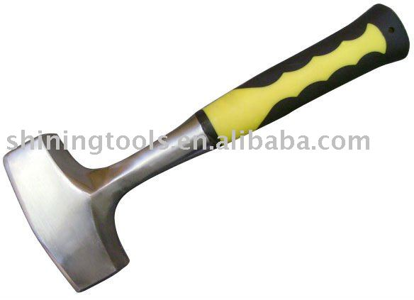 Rubber handle stone hammer