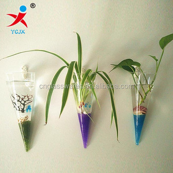 Clear Cone Shape Glass Wall Vases Buy Cone Shape Glass Wall Vase