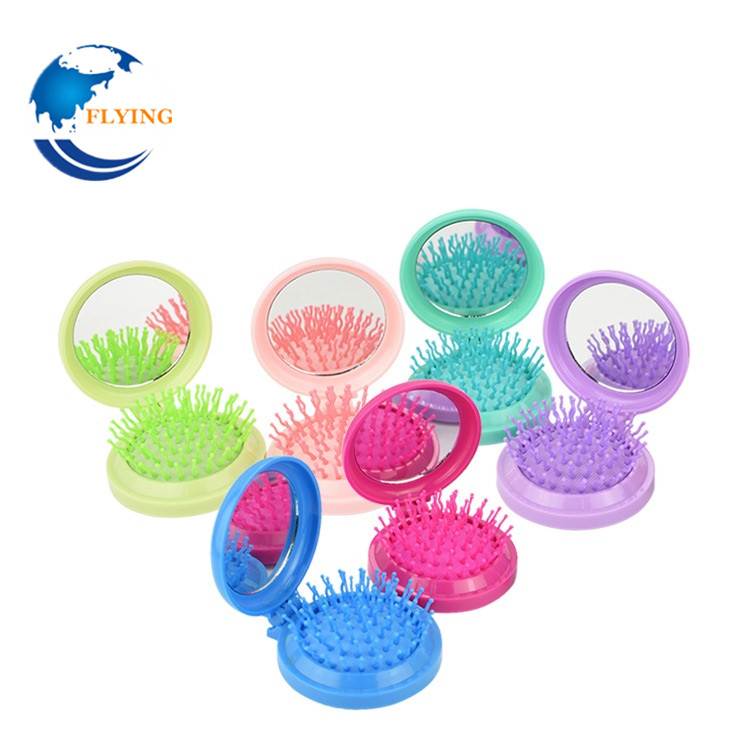 New Color Portable Mini Folding Massage Comb Airbag Massage Round Travel Hair brush With Mirror Anti-static Comb