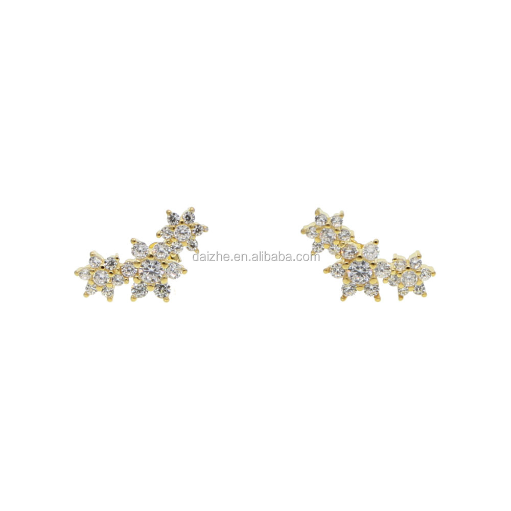 wholesale cheapest 925 sterling silver <strong>flower</strong> stud <strong>earring</strong> with china cz paved 3 <strong>flower</strong> <strong>earring</strong> design for wedding
