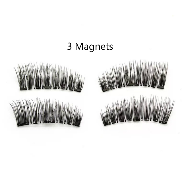 f12fa35b93a Newest Types 3 Magnets Triple Magnetic False Eyelashes 0.2mm Ultra Thin 3D  Reusable Fake Lashes Full Size Natural Look 1 Pair