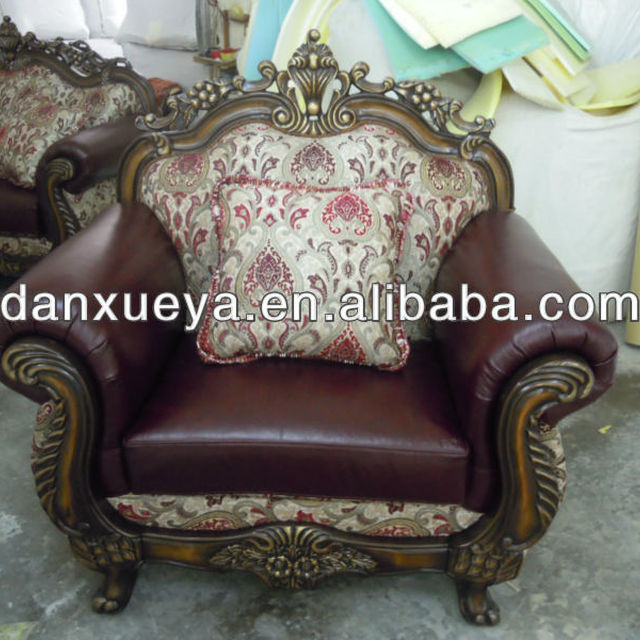 Elegant Solid Wood Frame Leather Sofa With Fabric Cushions