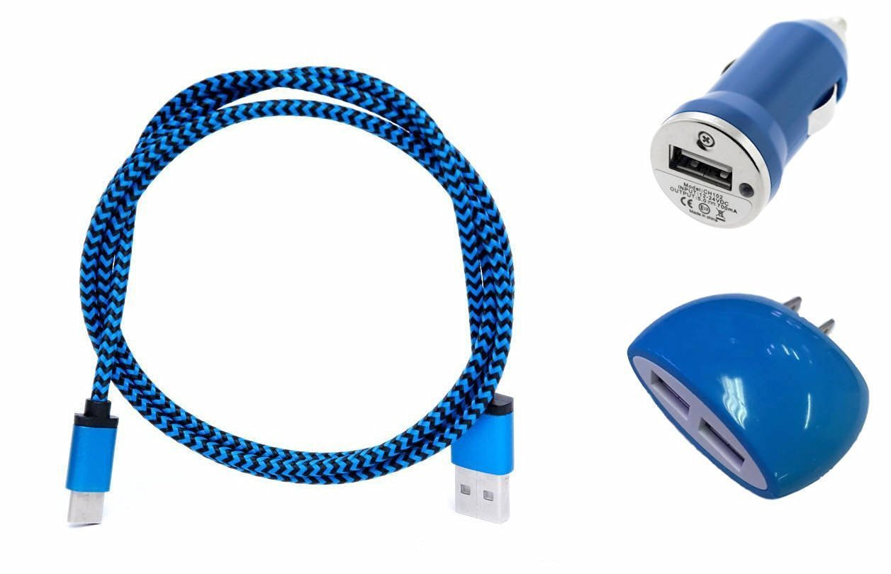 ZTE Imperial Max Blue Charging Combo Pack includes 3 Ft. Reversible Type C Cable , Dual USB Wall Home Charger and Car Charger