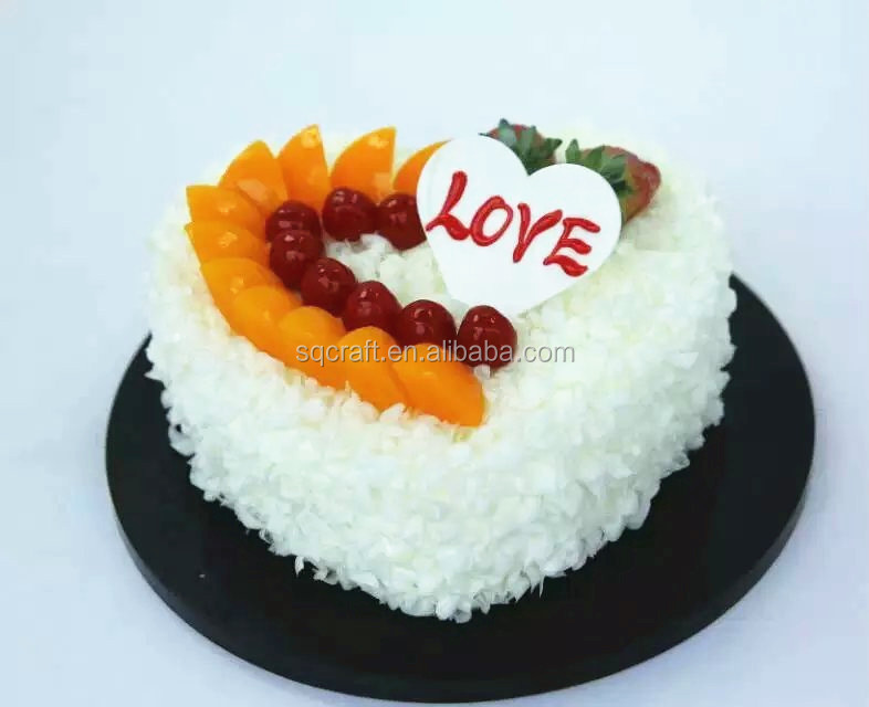 Lifelike Heart Shaped Fake Birthday Cake Model For Display