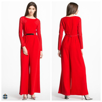 T Jp520 Prival Label Red Long Sleeve Maxi Muslim Womens Jumpsuit