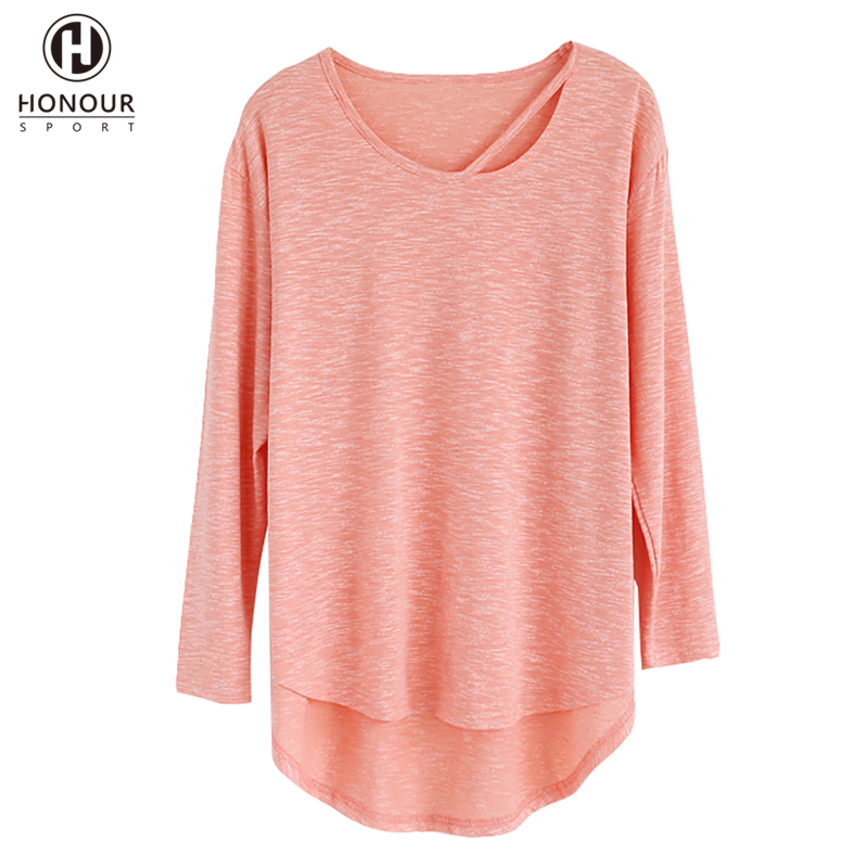 Wholesale Moisture Wicking Bamboo Cotton Fabric Long Sleeve Curved Hem Sport Gym Training Dancing T Shirt for Girl
