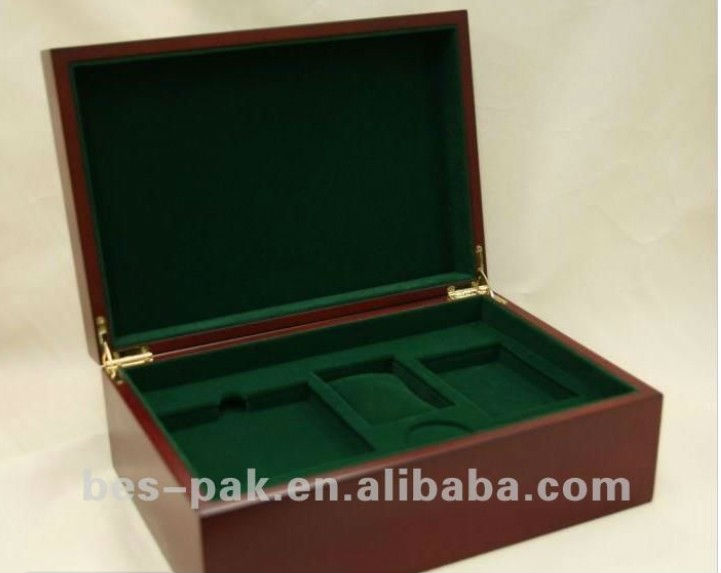short green pile suede wooden box