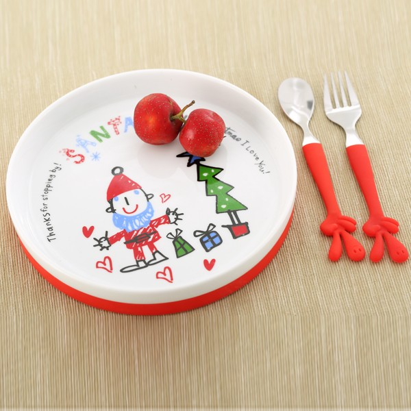 5 pcs christmas design children porcelain dinner set with non-slip silicone base