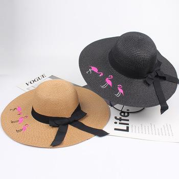 Summer embroidery flamingos new little fashion Visor straw rattan sun ... c61612d55f3