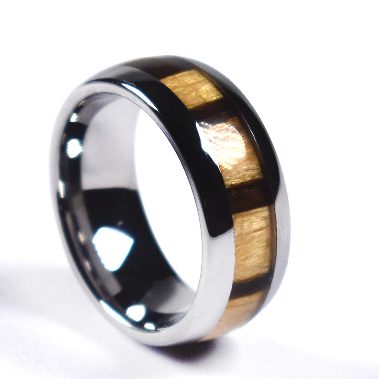 Zebra Wood Inlay Wood Tungsten Carbide Ring Polished Dome Edge Comfort Fit 8mm